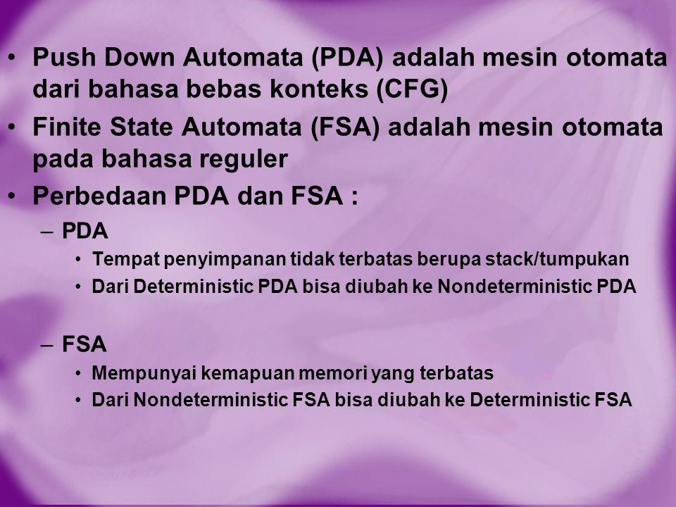 Finite State Automata (FSA) adalah mesin otomata pada bahasa reguler