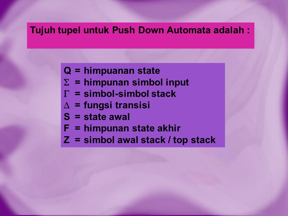 Tujuh tupel untuk Push Down Automata adalah :