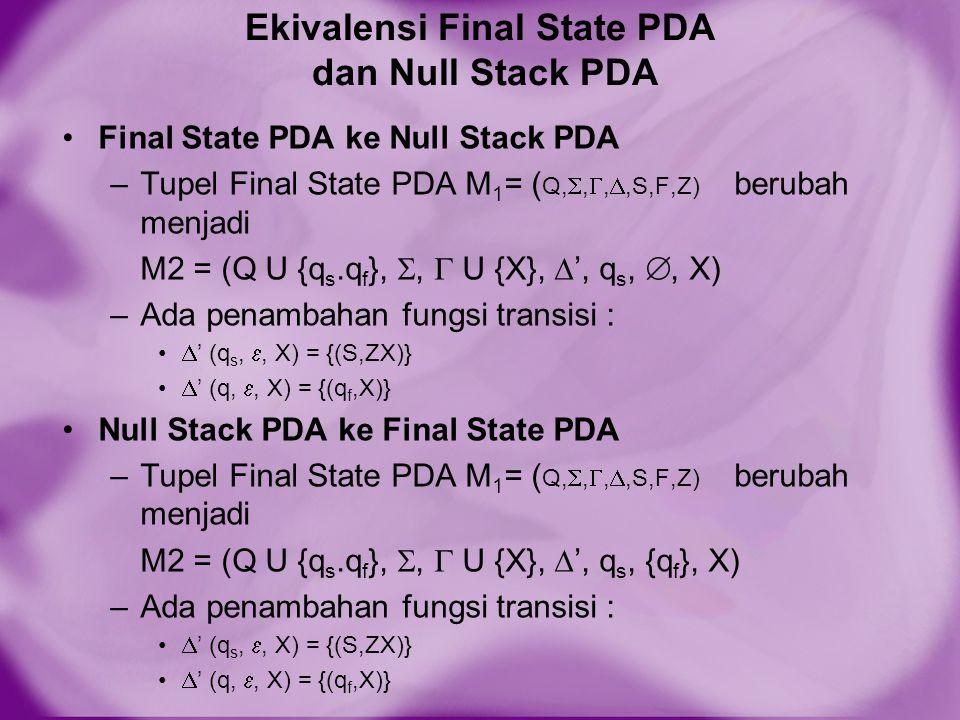 Ekivalensi Final State PDA dan Null Stack PDA