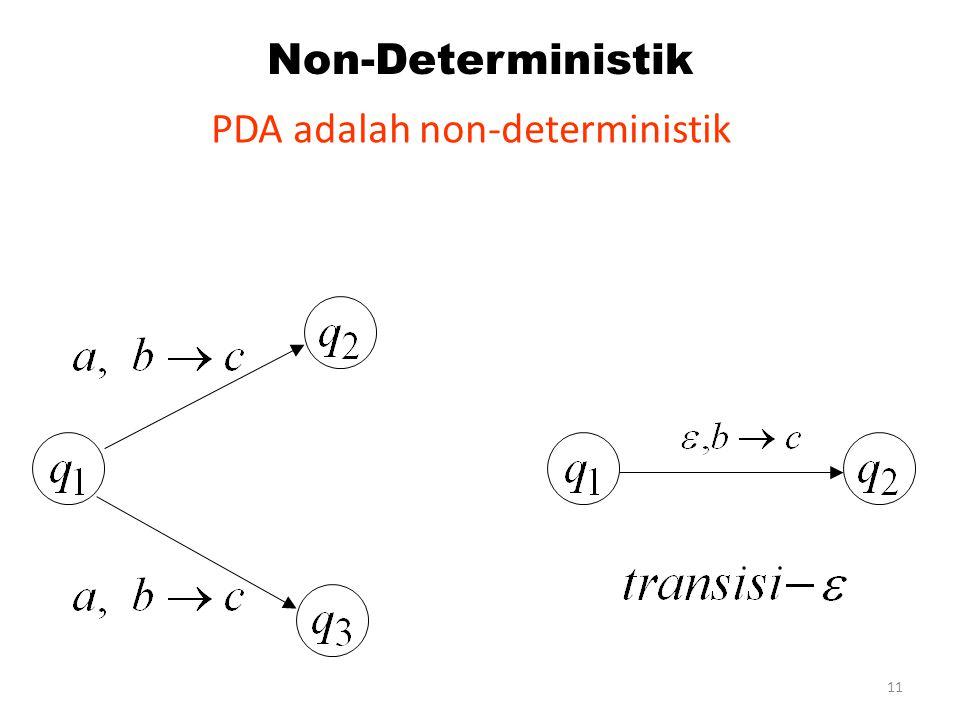 PDA adalah non-deterministik