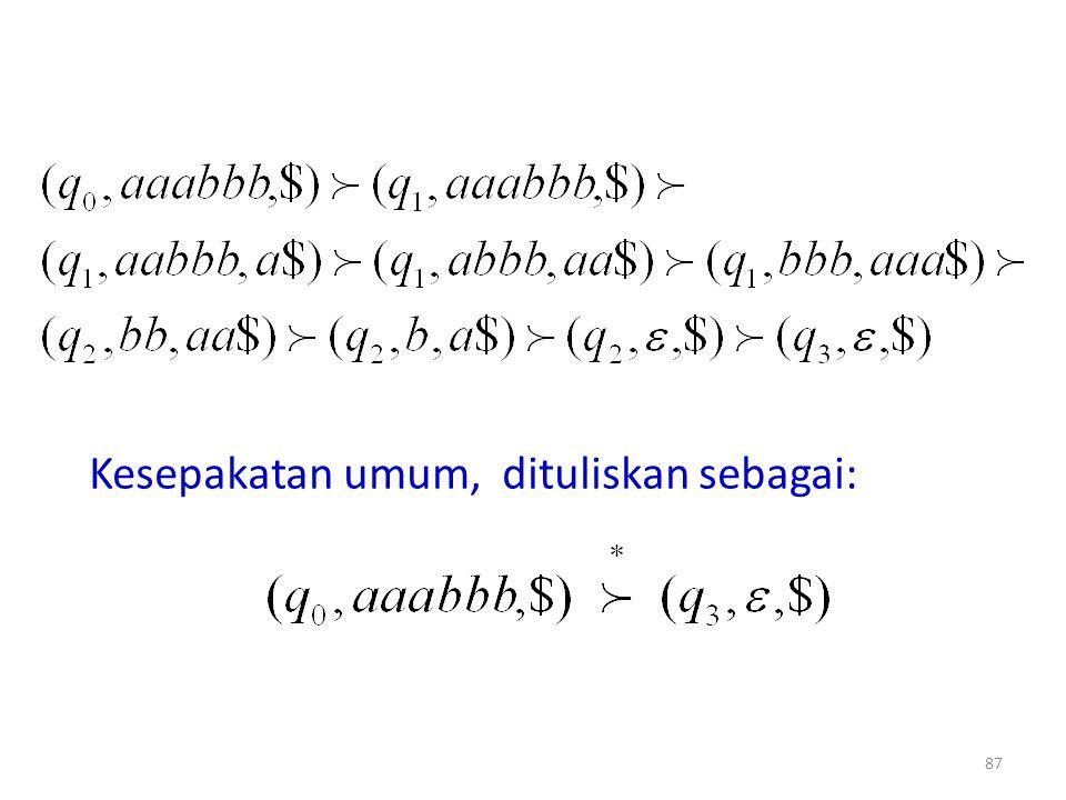 Kesepakatan umum, dituliskan sebagai: