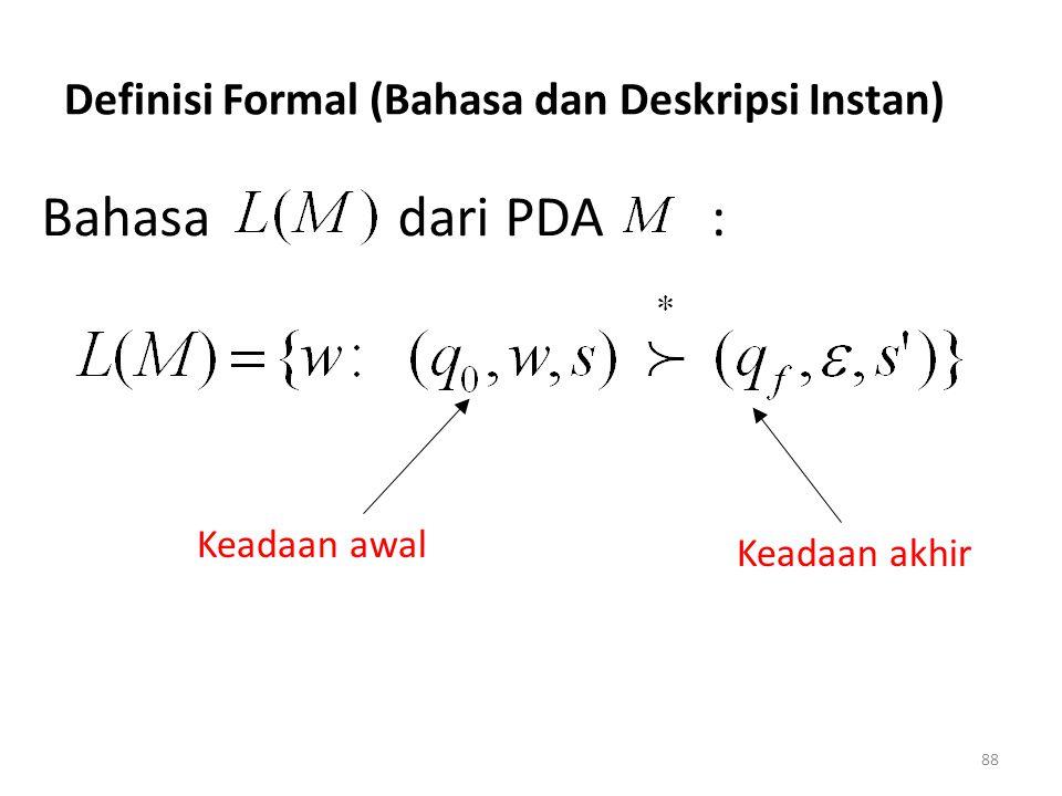 Definisi Formal (Bahasa dan Deskripsi Instan)