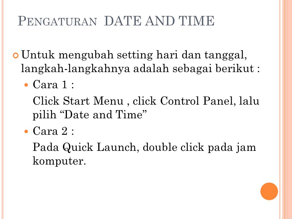 Pengaturan DATE AND TIME