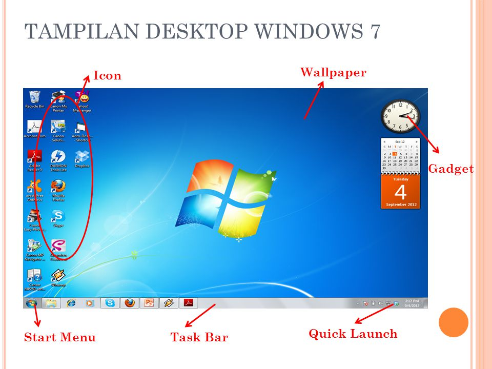 TAMPILAN DESKTOP WINDOWS 7