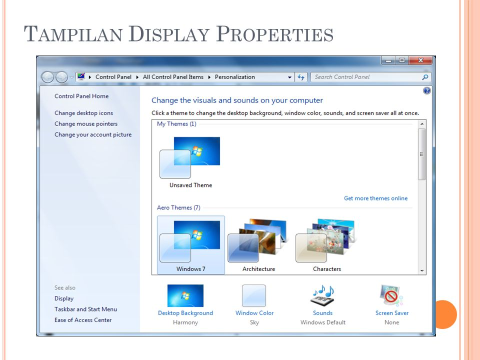 Tampilan Display Properties