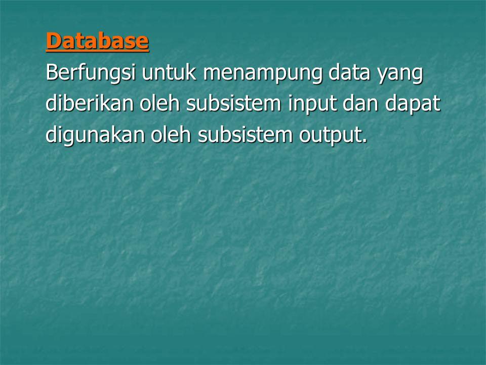 Database Berfungsi untuk menampung data yang. diberikan oleh subsistem input dan dapat.