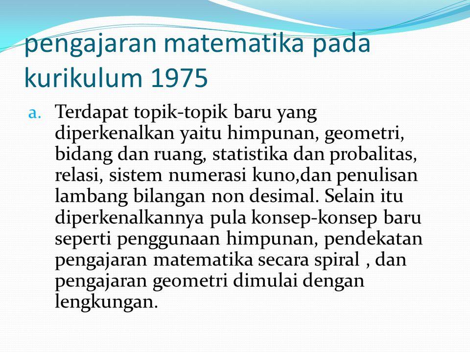 pengajaran matematika pada kurikulum 1975