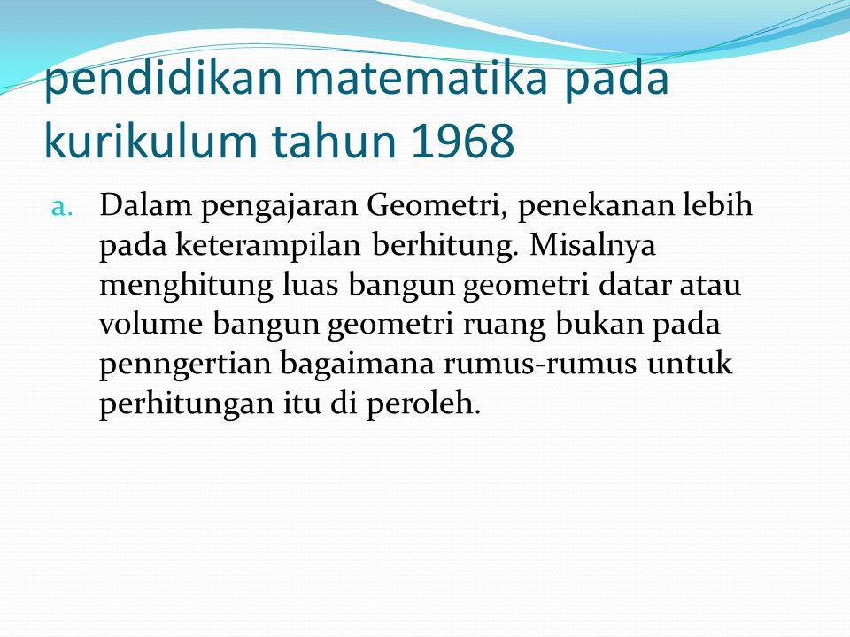 pendidikan matematika pada kurikulum tahun 1968