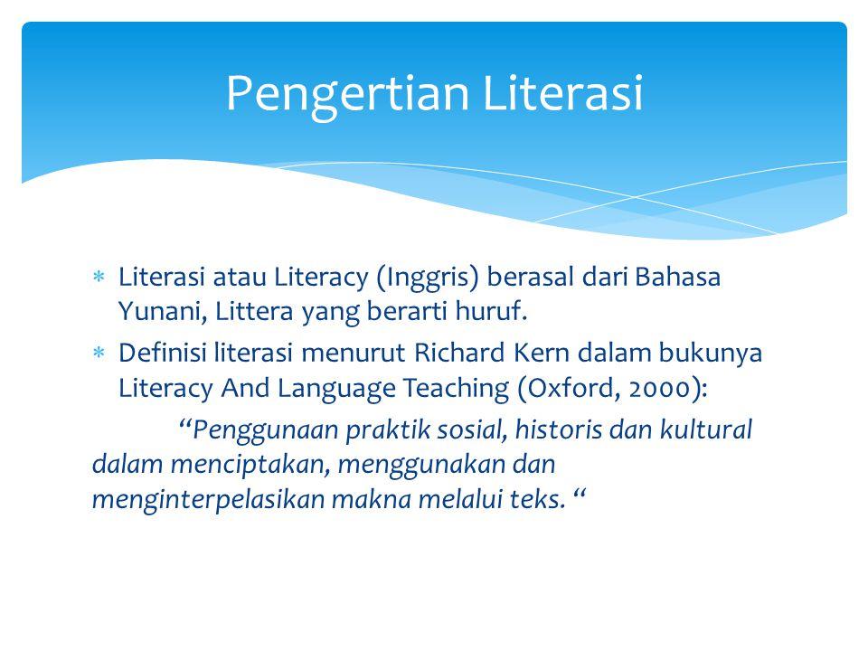 Pengertian Literasi Literasi atau Literacy (Inggris) berasal dari Bahasa Yunani, Littera yang berarti huruf.