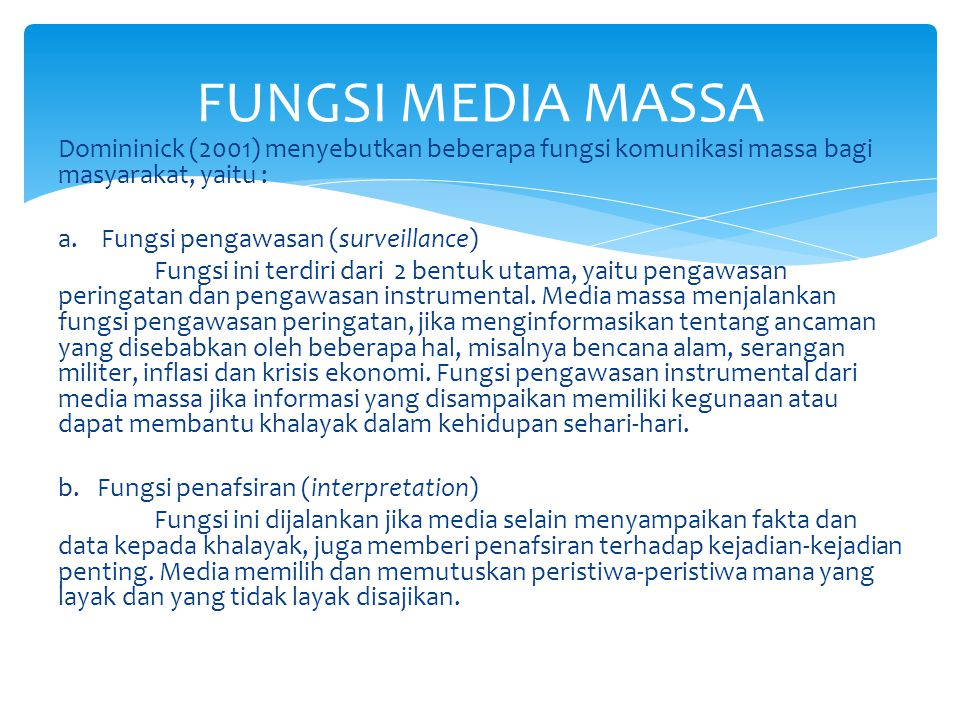 FUNGSI MEDIA MASSA