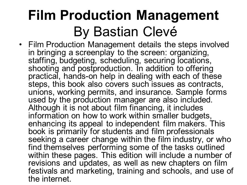 Film Production Management By Bastian Clevé