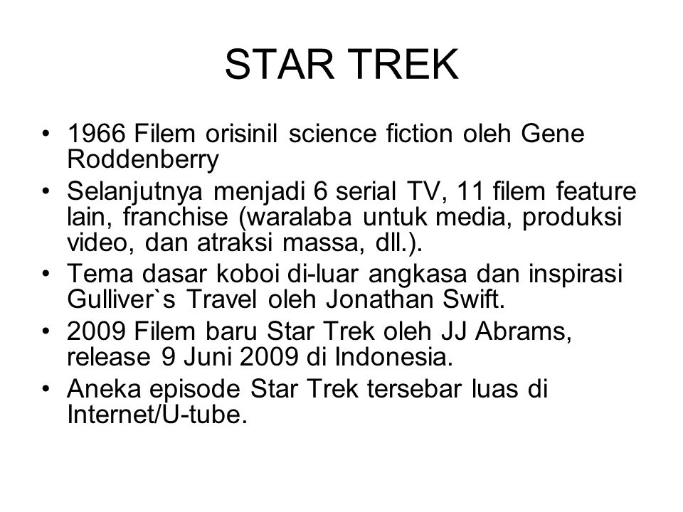 STAR TREK 1966 Filem orisinil science fiction oleh Gene Roddenberry