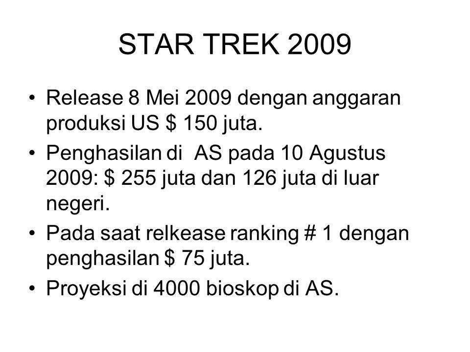STAR TREK 2009 Release 8 Mei 2009 dengan anggaran produksi US $ 150 juta.