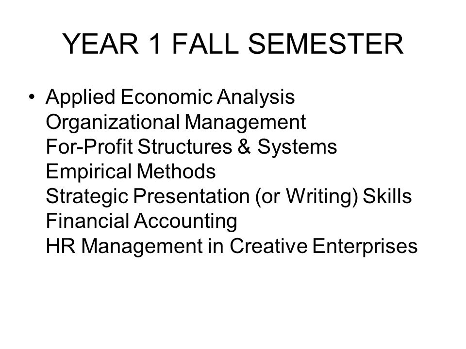 YEAR 1 FALL SEMESTER