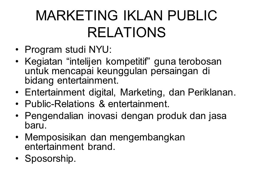 MARKETING IKLAN PUBLIC RELATIONS