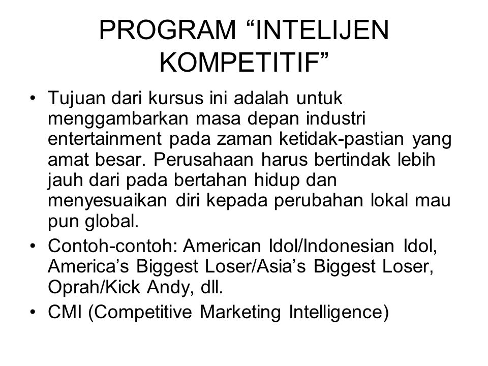 PROGRAM INTELIJEN KOMPETITIF