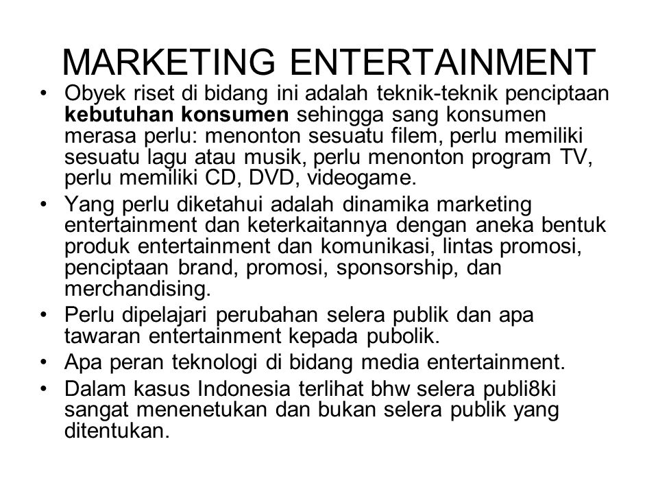 MARKETING ENTERTAINMENT