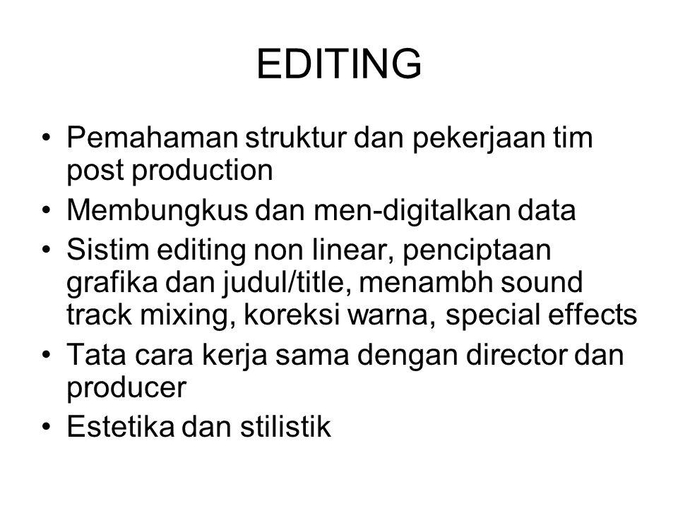 EDITING Pemahaman struktur dan pekerjaan tim post production