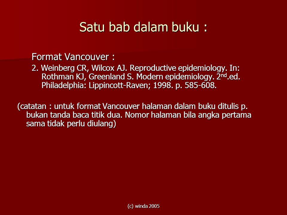 Satu bab dalam buku : Format Vancouver :