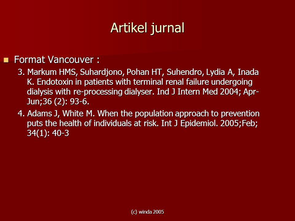 Artikel jurnal Format Vancouver :