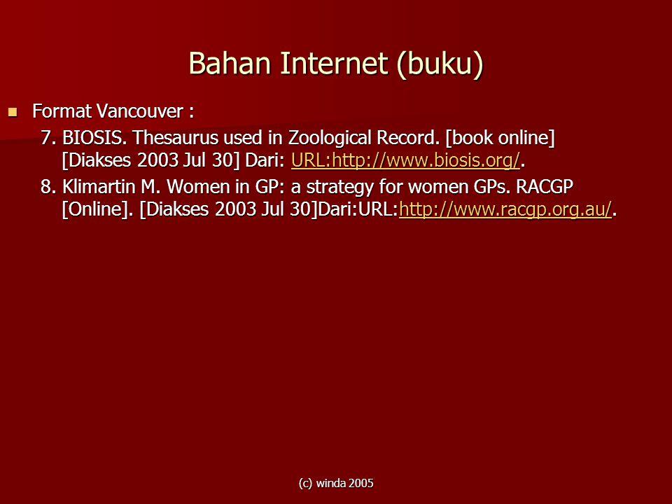 Bahan Internet (buku) Format Vancouver :