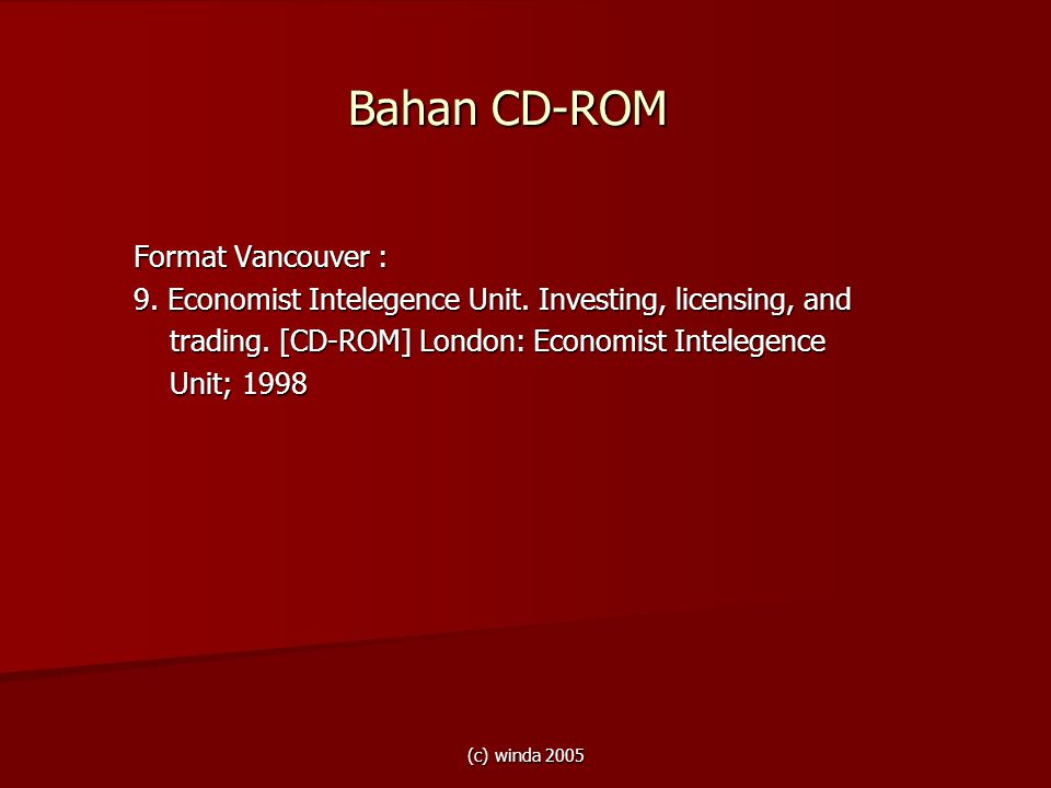 Bahan CD-ROM Format Vancouver :
