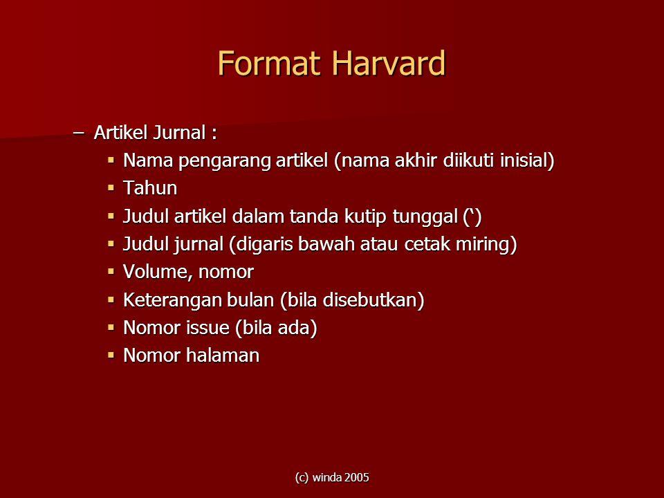 Format Harvard Artikel Jurnal :