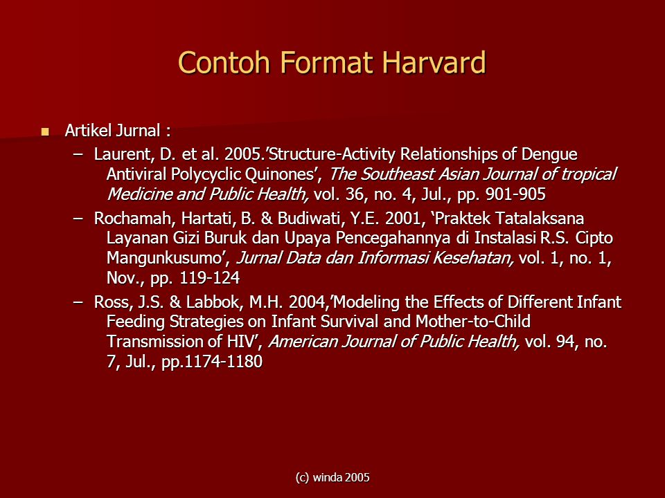 Contoh Format Harvard Artikel Jurnal :
