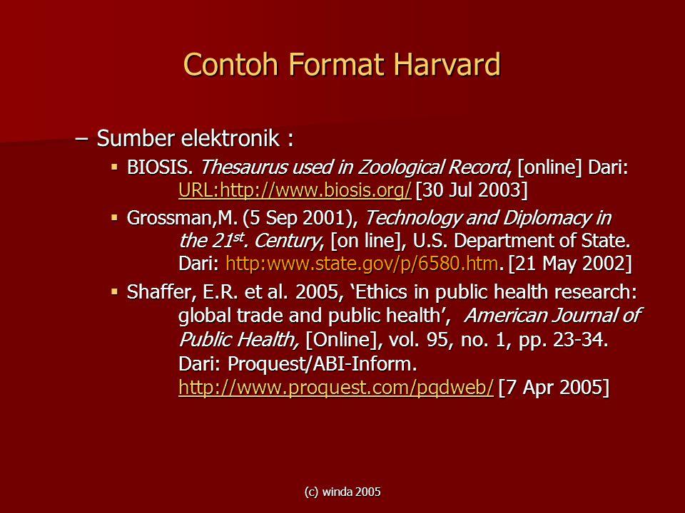 Contoh Format Harvard Sumber elektronik :
