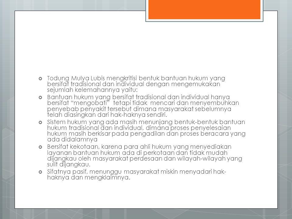 Todung Mulya Lubis mengkritisi bentuk bantuan hukum yang bersifat tradisional dan individual dengan mengemukakan sejumlah kelemahannya yaitu:
