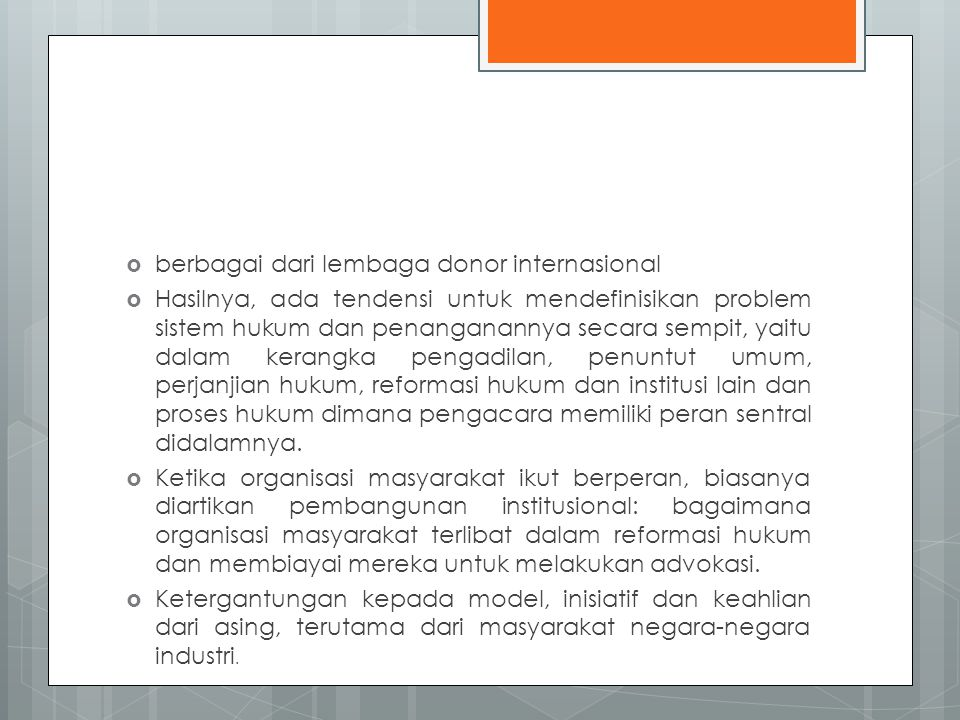 berbagai dari lembaga donor internasional