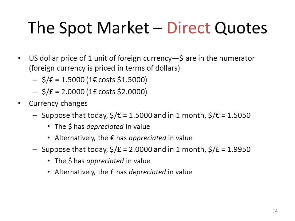 The Spot Market – Direct Quotes