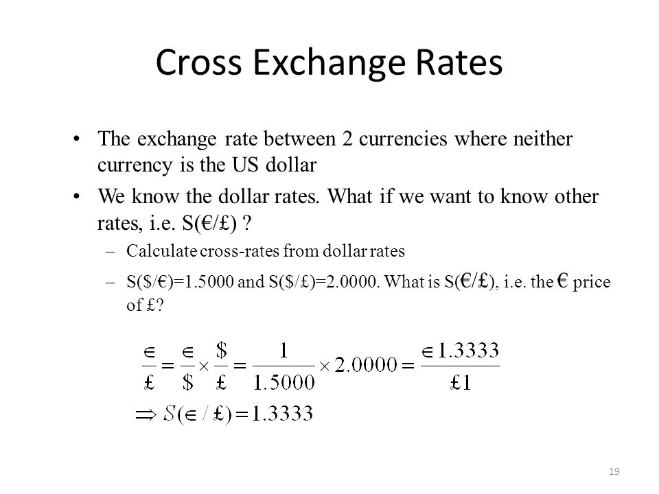 Cross Exchange Rates The exchange rate between 2 currencies where neither currency is the US dollar.