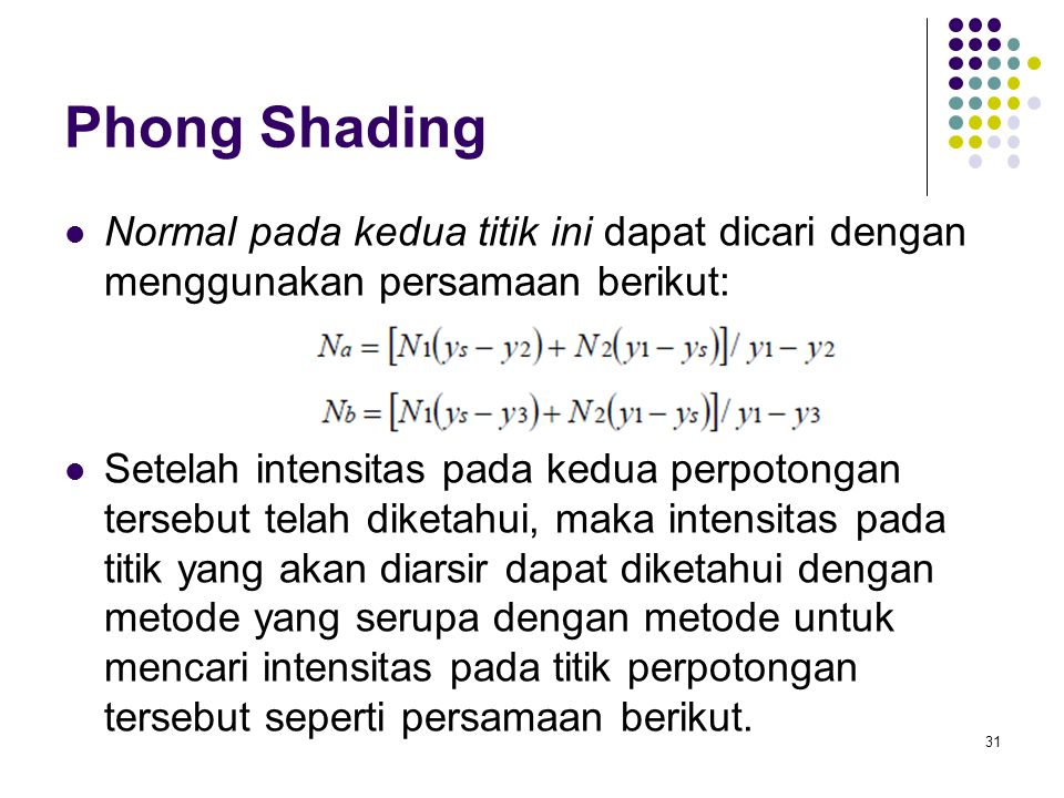 Phong Shading Normal pada kedua titik ini dapat dicari dengan menggunakan persamaan berikut: