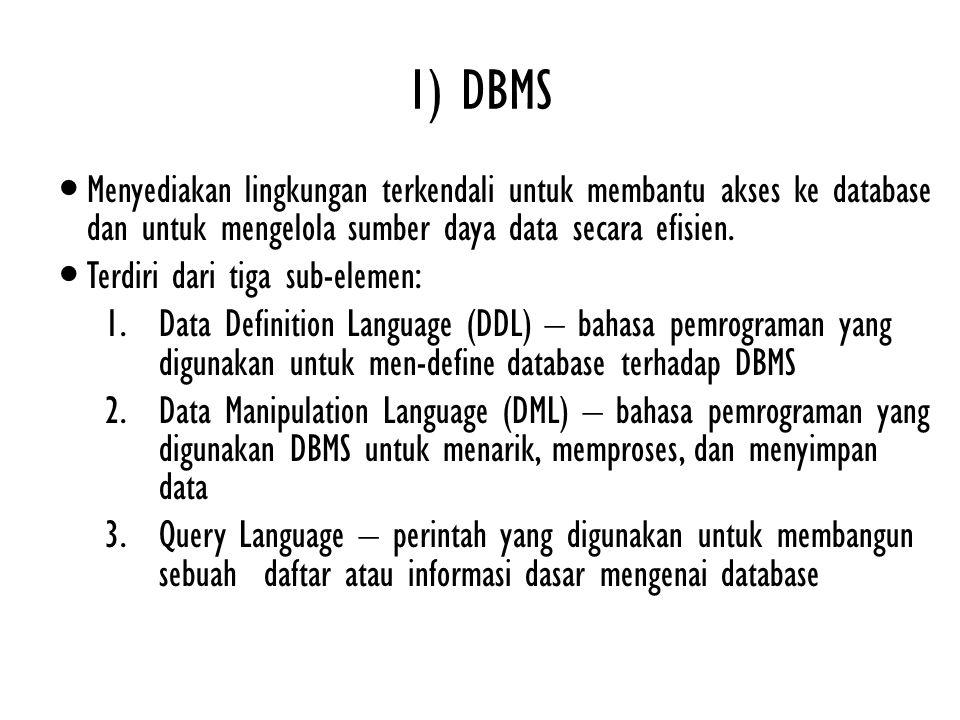 1) DBMS Menyediakan lingkungan terkendali untuk membantu akses ke database dan untuk mengelola sumber daya data secara efisien.