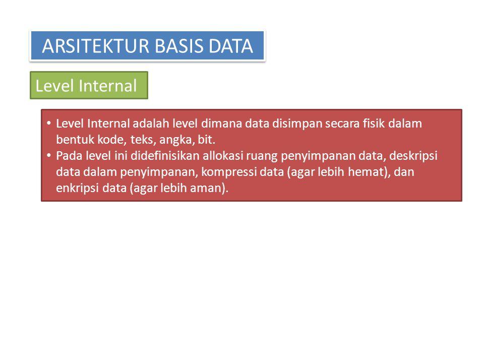 ARSITEKTUR BASIS DATA Level Internal