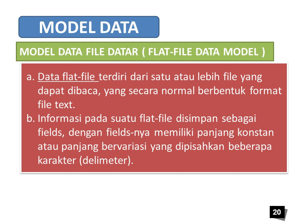 MODEL DATA MODEL DATA FILE DATAR ( FLAT-FILE DATA MODEL )