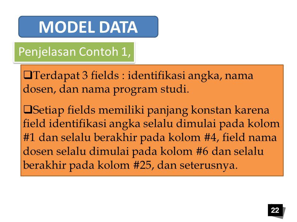 MODEL DATA Penjelasan Contoh 1,
