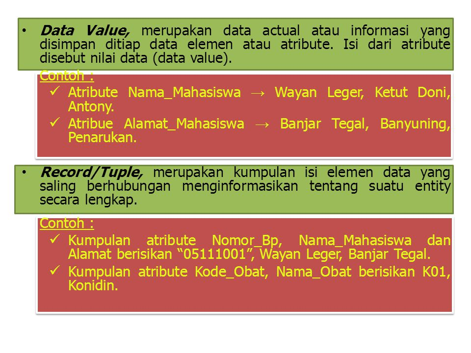 Data Value, merupakan data actual atau informasi yang disimpan ditiap data elemen atau atribute. Isi dari atribute disebut nilai data (data value).