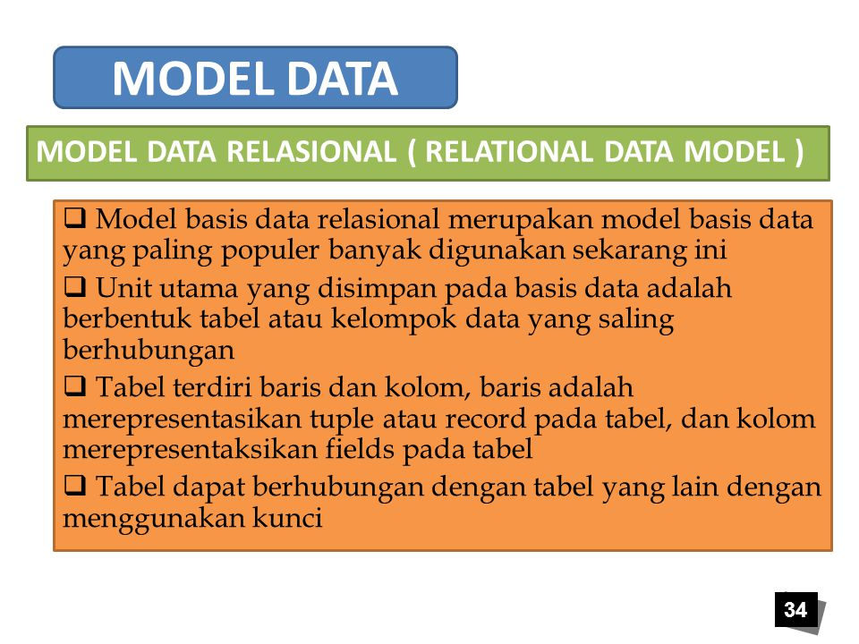 MODEL DATA MODEL DATA RELASIONAL ( RELATIONAL DATA MODEL )
