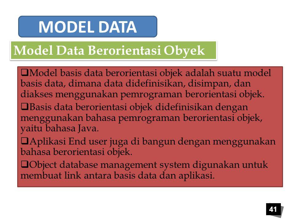 MODEL DATA Model Data Berorientasi Obyek