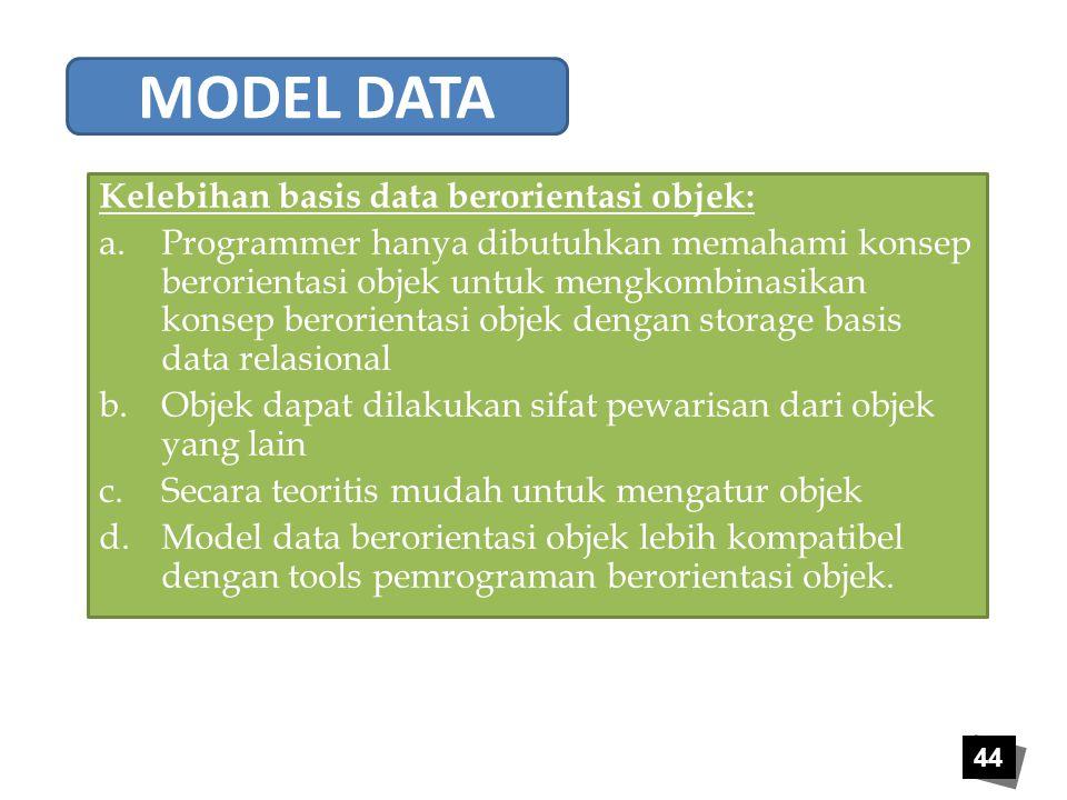 MODEL DATA Kelebihan basis data berorientasi objek: