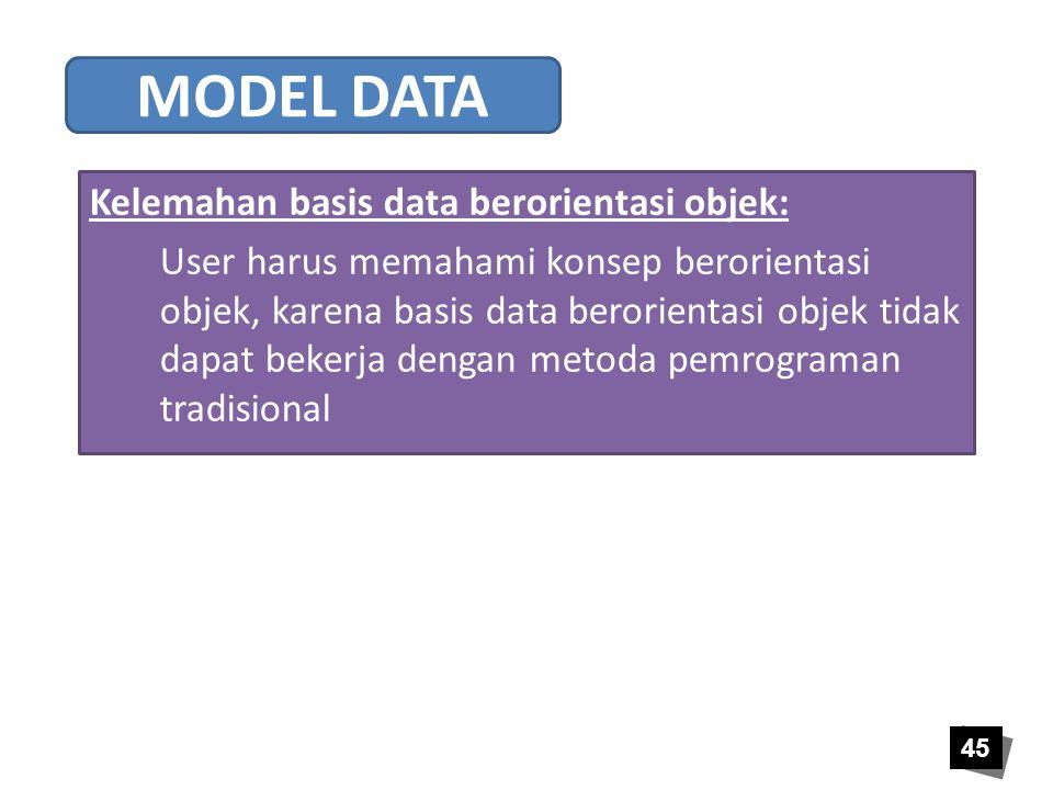 MODEL DATA Kelemahan basis data berorientasi objek: