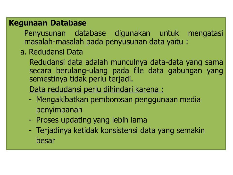 Kegunaan Database Penyusunan database digunakan untuk mengatasi masalah-masalah pada penyusunan data yaitu : a.