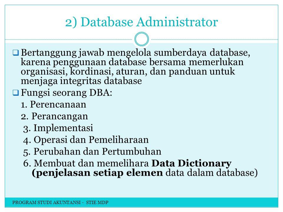 2) Database Administrator