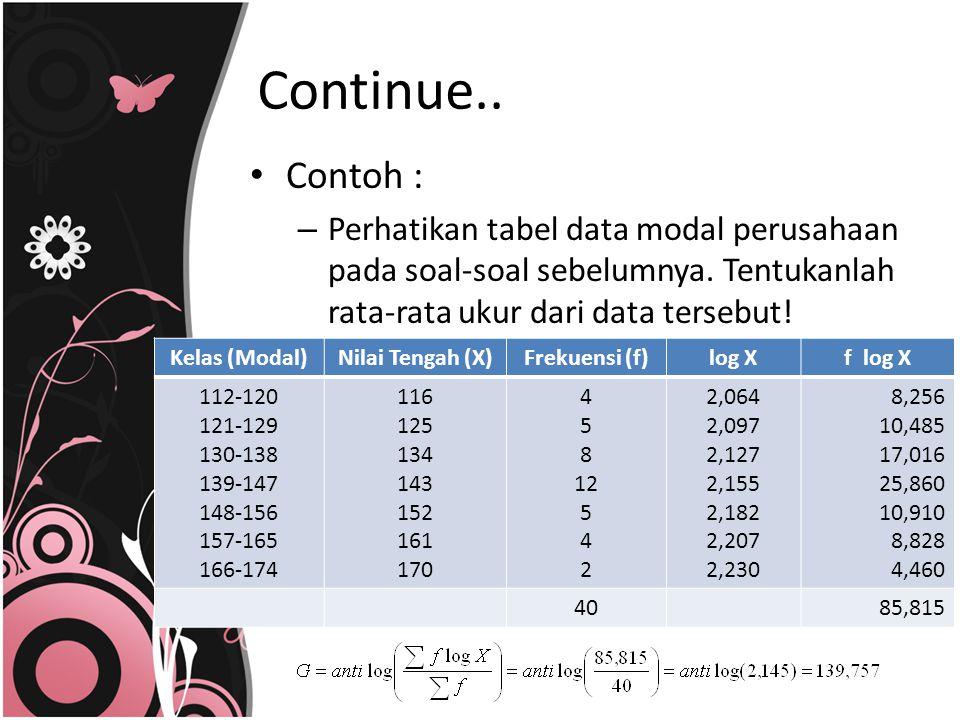 Continue.. Contoh : Perhatikan tabel data modal perusahaan pada soal-soal sebelumnya. Tentukanlah rata-rata ukur dari data tersebut!