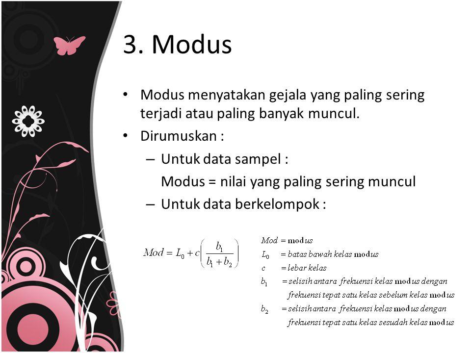 3. Modus Modus menyatakan gejala yang paling sering terjadi atau paling banyak muncul. Dirumuskan :