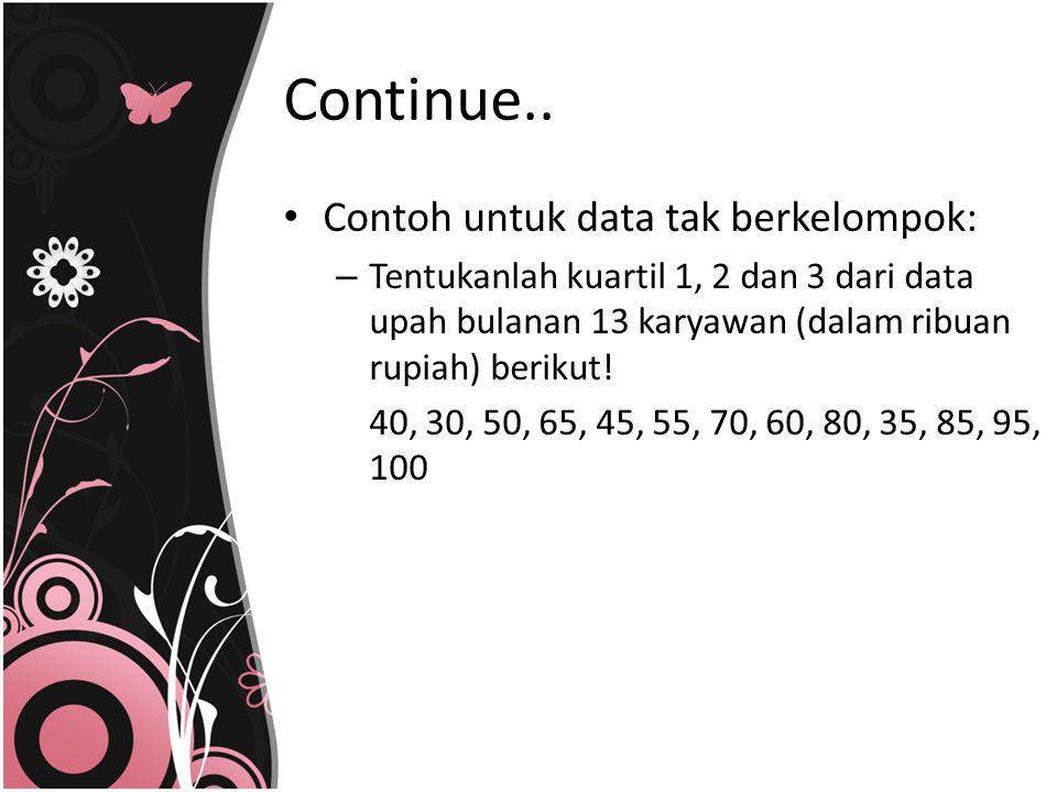 Continue.. Contoh untuk data tak berkelompok: