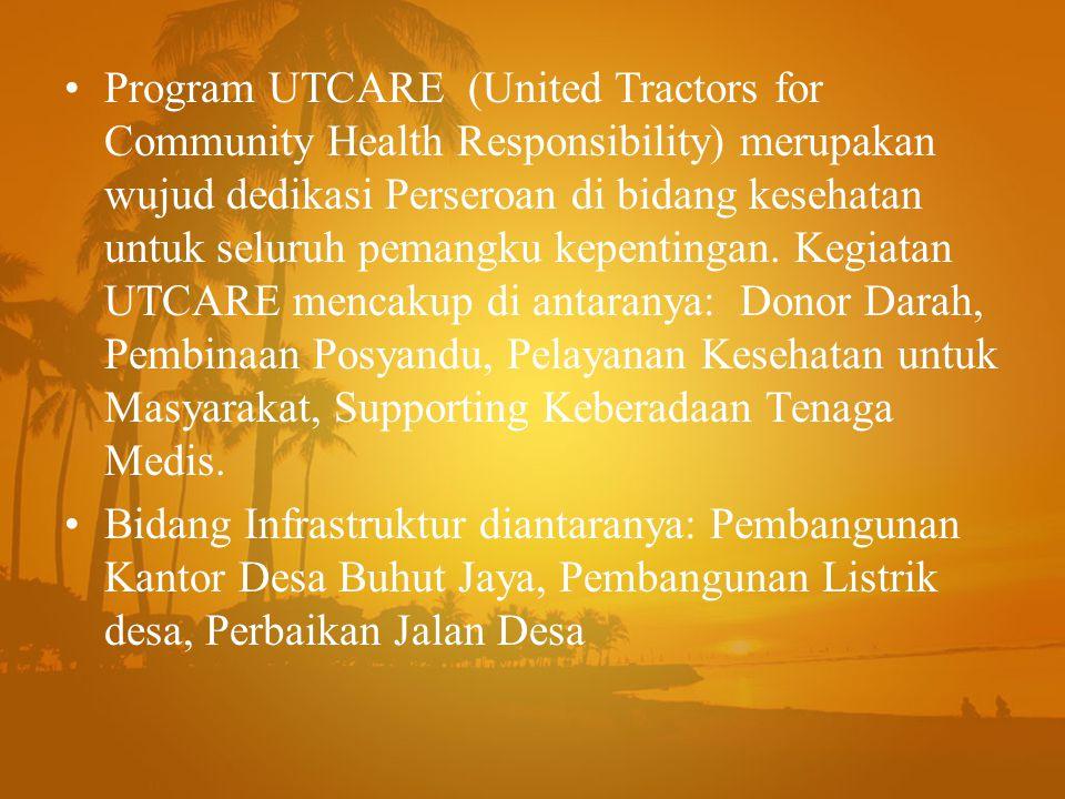 Program UTCARE (United Tractors for Community Health Responsibility) merupakan wujud dedikasi Perseroan di bidang kesehatan untuk seluruh pemangku kepentingan. Kegiatan UTCARE mencakup di antaranya: Donor Darah, Pembinaan Posyandu, Pelayanan Kesehatan untuk Masyarakat, Supporting Keberadaan Tenaga Medis.