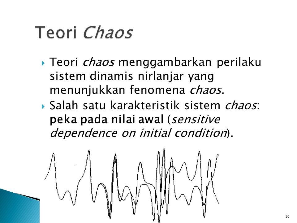 Teori Chaos Teori chaos menggambarkan perilaku sistem dinamis nirlanjar yang menunjukkan fenomena chaos.